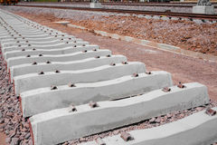 Railroad track in railway for train, construction site Stock Photos