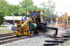 Railroad Track Repair. A method of repairing a damaged railroad rail comprising the steps of: identifying a defect in the rail, removing the portion of the rail Royalty Free Stock Photo