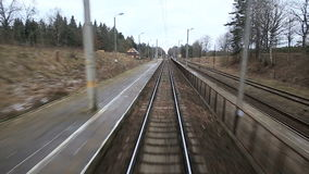 Railroad track running through coutry landscapes stock footage