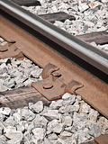 Railroad track with rusty nails Royalty Free Stock Images