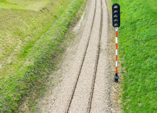 Railroad track and semaphore Stock Photography