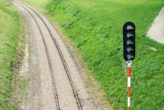 Railroad track and semaphore Royalty Free Stock Photography