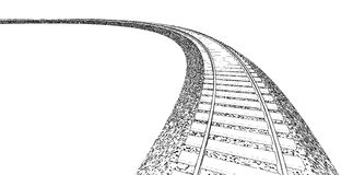 Railroad track silhouettes. Railway tracks cartoon Stock Image