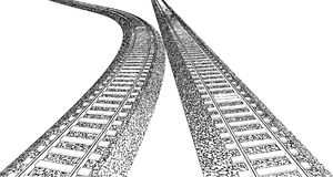 Railroad track silhouettes. tracks cartoon vector. Royalty Free Stock Photos