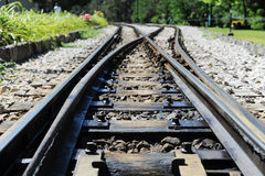 Railroad track in the station Stock Photo