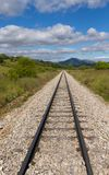 Railroad Track in Straight, in Mountainous Landscape stock image