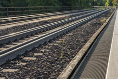 Railroad track. At a sunny summer day Stock Photo