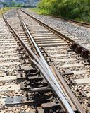 Railroad track switch closeup from above. Railroad track switch and ties closeup from above royalty free stock image