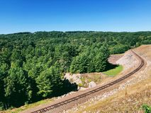 The railroad track of Thomaston Dam. And portions of the Naugatuck River Valley located on the scenic Naugatuck River in Thomaston Town Connecticut United stock photography