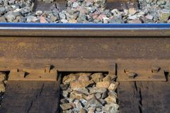 Railroad track, spikes, ties, ballast royalty free stock photo