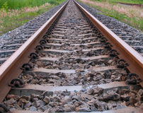 Railroad track from top view. Close up on part of railroad track from top view Stock Photography
