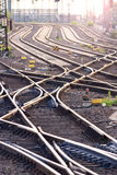 Railroad track. S near a large train station Stock Images
