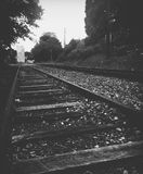 Railroad track traveling Stock Photo