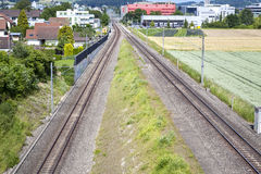 Railroad track, view from above Stock Images
