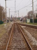 Railroad track at the Waddinxveen station.  Stock Images
