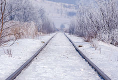 Railroad track in winter Stock Image