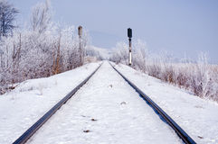 Railroad track in winter Stock Images