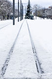 Railroad track in winter, Vitoria, Spain Stock Photo