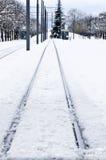 Railroad track in winter, Vitoria, Spain Stock Photo