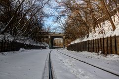 Railroad track on winters day Stock Photography