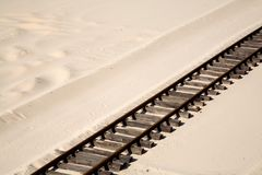 Railroad tracks. On the sand Stock Photography