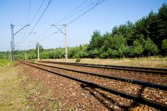 Railroad tracks. With electric wires overhead Stock Images