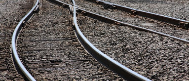 Railroad Tracks. An abstract view of railroad track that snakes into the distance Royalty Free Stock Image
