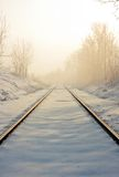 Railroad tracks. Train tracks in winter mist Stock Image