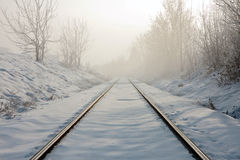 Railroad tracks. Train tracks in winter mist Stock Images