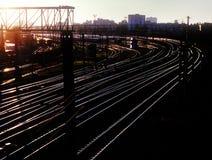 Railroad tracks. Railroad tracks at sunset. Railway station in Kyiv, Ukraine Stock Photography