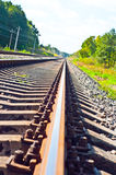 Railroad Tracks. Side by side railroad tracks disappearing into the distance Royalty Free Stock Photo