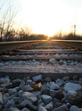 Railroad tracks. Low angle shot of railroad tracks at sunset Stock Images