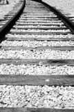 Railroad tracks. Black and white close up of railroad tracks Royalty Free Stock Photo