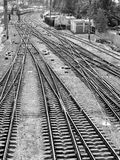 Railroad tracks. The panorama of railroad tracks. Top view. black and white image, monochrome royalty free stock photos