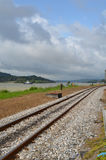 Railroad tracks. These are the railroad tracks by the Panama Canal stock image