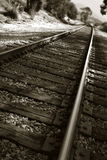 Railroad Tracks. Shown in a different perspective in black and white Stock Photo