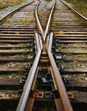 Railroad tracks. Two railway ways forming a fork stock photos
