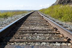 Railroad tracks. In the wilderness Stock Photography