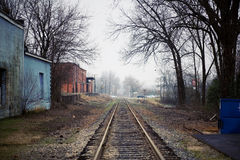 Railroad Tracks. View of Empty Railroad Tracks in a Country Town Royalty Free Stock Photo