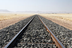 Railroad tracks. In the desert in Namibia stock photography