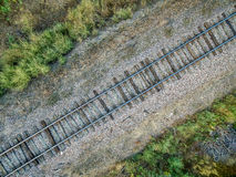 Railroad tracks aerial view Stock Photography