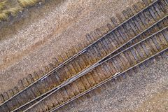 Railroad tracks aerial view stock image