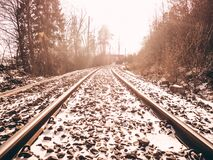 Railroad Tracks Against Sky during Winter Royalty Free Stock Images