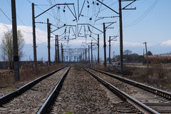 Railroad tracks in Armenia with Ararat mountain in the background Stock Photos
