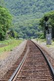 Railroad tracks through Bear Mountain Stock Photo