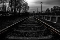 Railroad tracks in black and white Stock Images