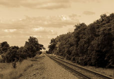 Railroad Tracks in Black & White Stock Photo