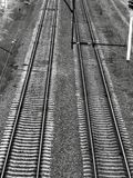 Railroad tracks black gloomy atmosphere stock image
