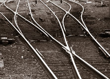 Railroad tracks. Branching out on the ground by a station stock photos