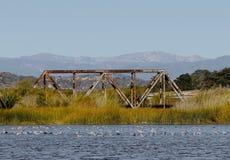 Railroad tracks bridge Royalty Free Stock Photo